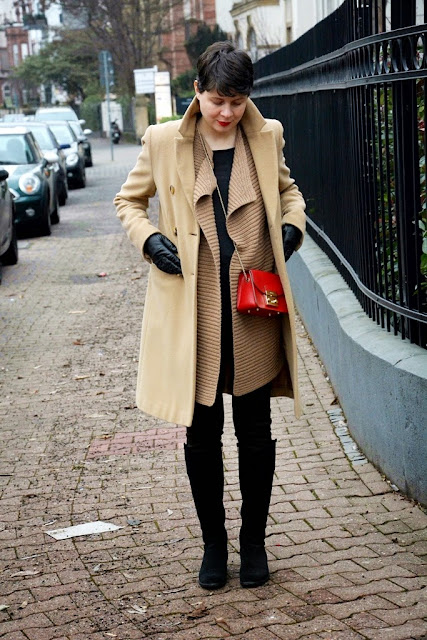 Camel coloured vest, camel coloured coat, furla metropolis
