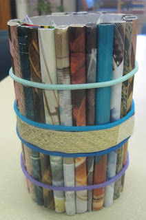 Pencil Holder Made from Magazine Pages