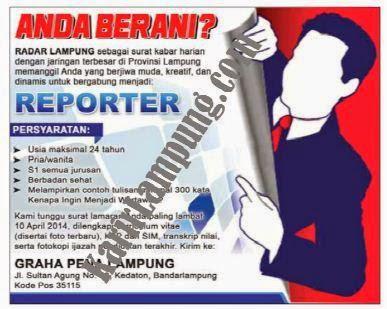 Lowongan Reporter Harian Radar Lampung Terbaru April 2014