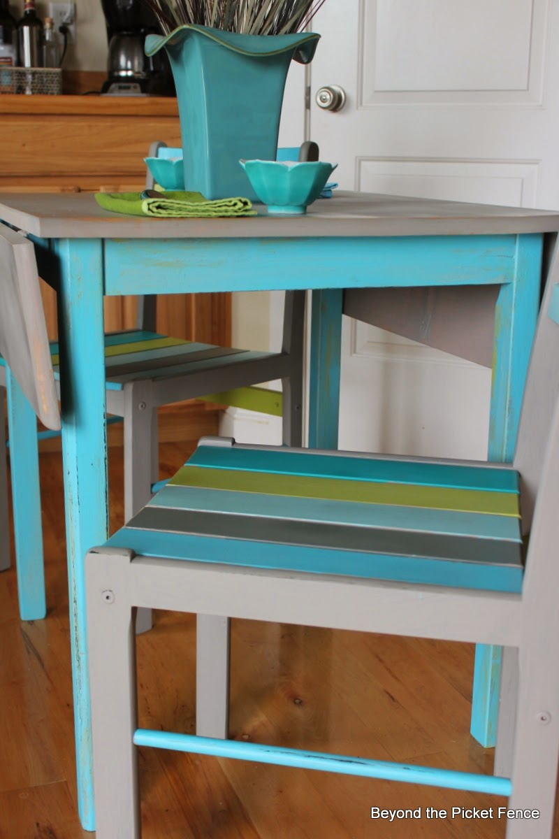Caribbean table for two painted drop leaf table http://bec4-beyondthepicketfence.blogspot.com/2014/03/caribbean-table-for-two.html