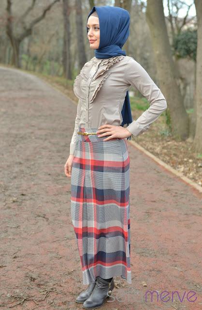 إطلالات التنورة الطويلة للمحجبات 2013 - ملابس محجبات 2013