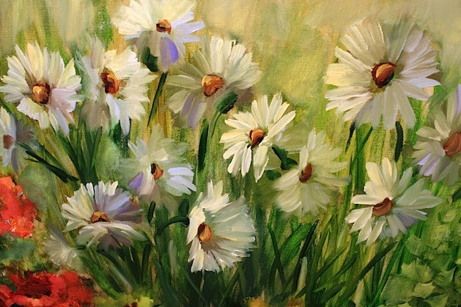 Flower Garden Paintings nancy medina art: daisies in a camelia rose gardentexas flower
