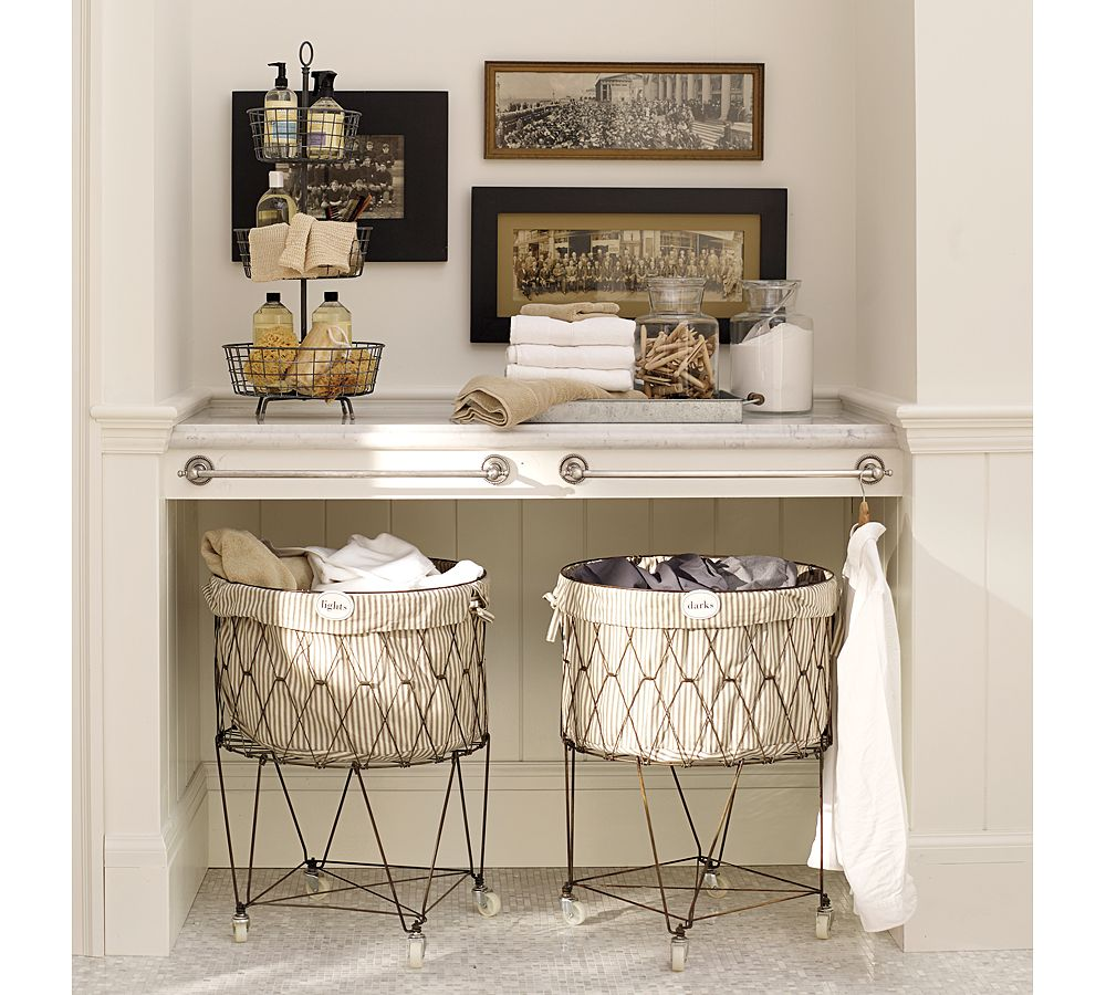 Antique Style: French Wire Hamper on Wheels!