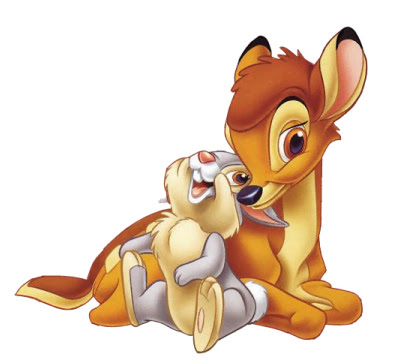 Little Bambi and friend rabbit