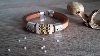 Thick leather bracelet and beads
