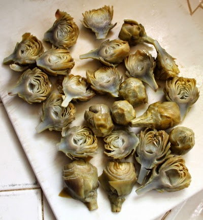 cooked baby artichokes