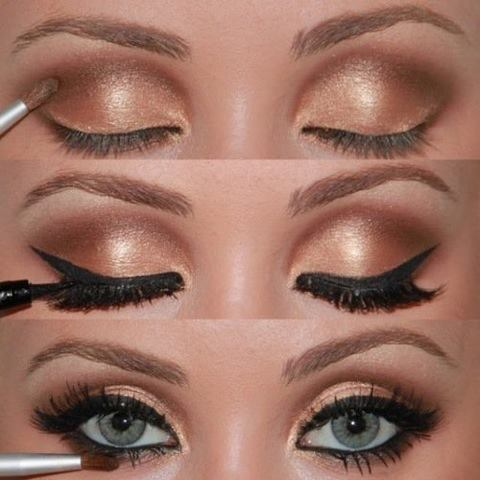 Golden eyelids makeup style for ladies