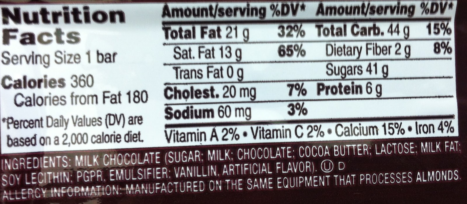 Dark Chocolate Hershey Bar Nutrition