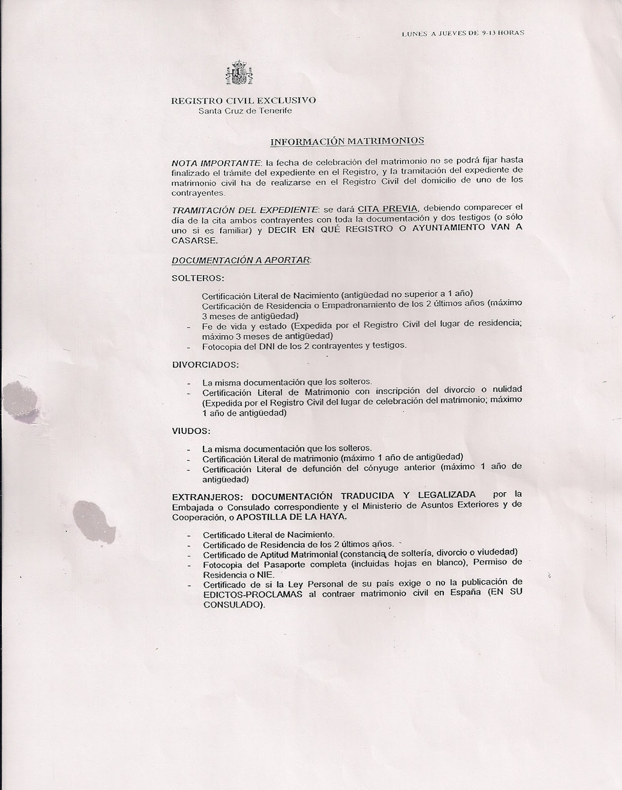 Inmigraci n una oportunidad requisitos para contraer for Tramites matrimonio civil