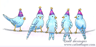 birds, wire, copic markers, sketch, drawing, bird, party, bluebirds, cat beringer