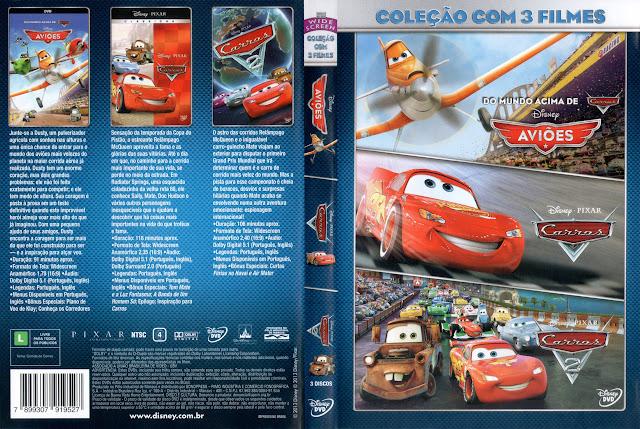 Capa DVD Coleção com 3 filmes Aviões Carros e Carros 2