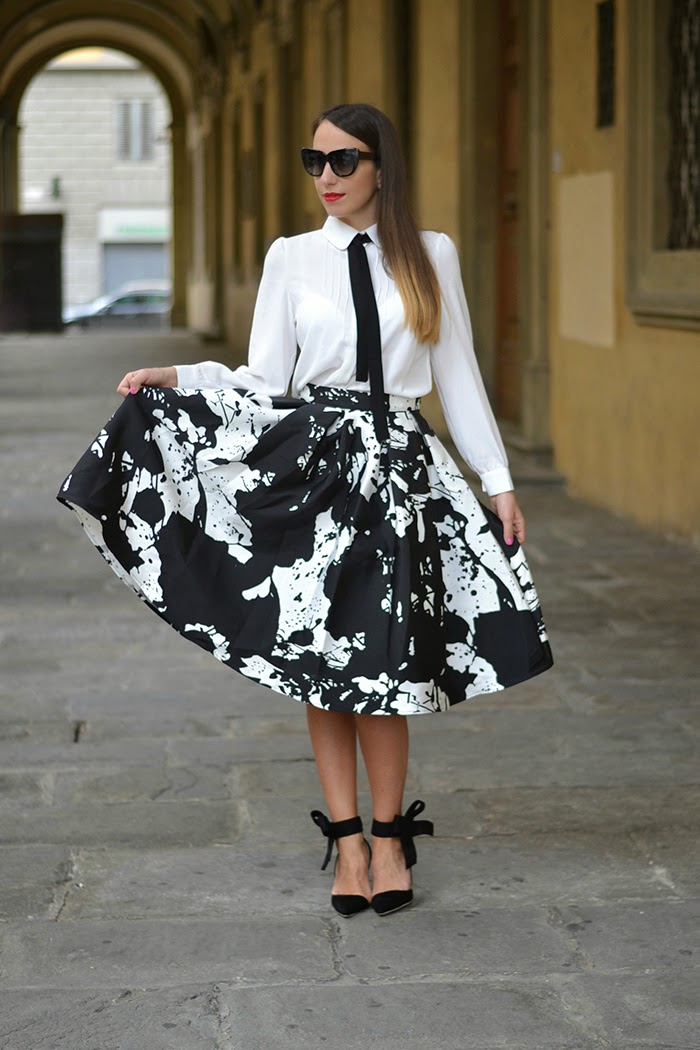 black white midi skirt