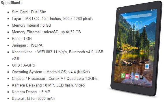 Harga dan Spesifikasi Lengkap Tablet Mito Fantasy T10