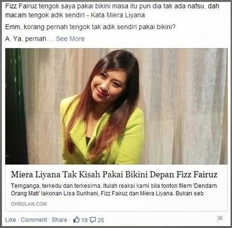 Video Fizz Fairuz tak ada nafsu tengok saya pakai bikini Miera Liyana
