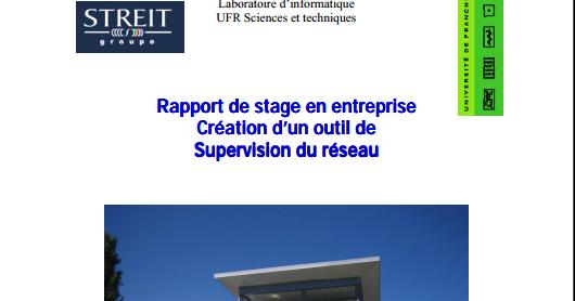 rapport de stage en entreprise cr u00e9ation d u2019un outil de supervision du r u00e9seau