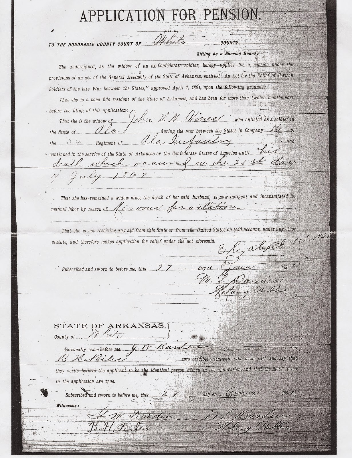 My ancestors leaves application for pension by elizabeth miles vines june 27 1892 ordered and received from arkansas confederate penion records arkansas history commission aiddatafo Choice Image
