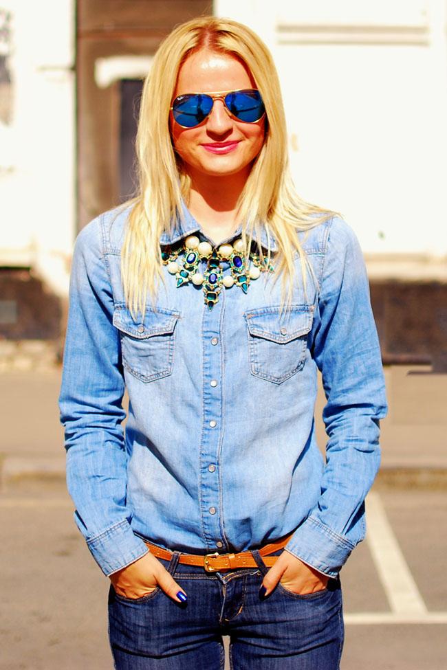 Ирина Павлова блог, модный лук, с чем носить джинсовую рубашку,тотал деним,модные луки 2015, модные тренды весны 2015