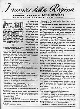 """Lord Dunsany, """"I nemici della regina"""" su Il Dramma n. 382, pagina"""