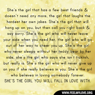She's the girl that has a few best friends