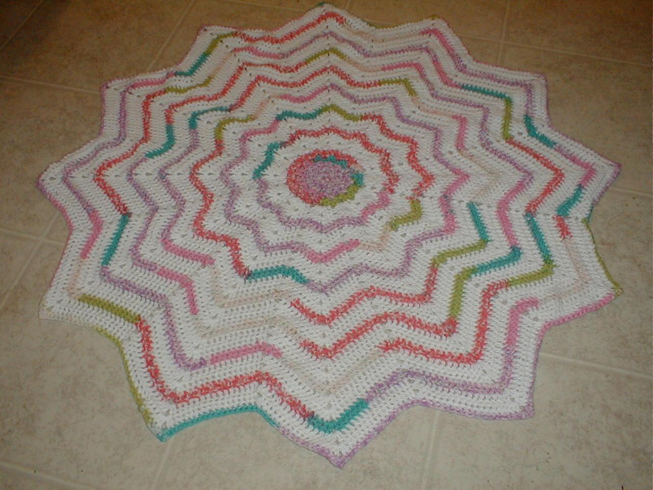 Crochet Pattern Round Ripple Afghan : Karens Crocheted Garden of Colors: 12-Point Round Ripple ...