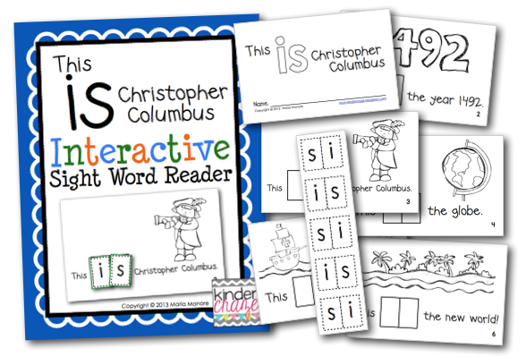 emergent reader with sight word practice for Columbus Day