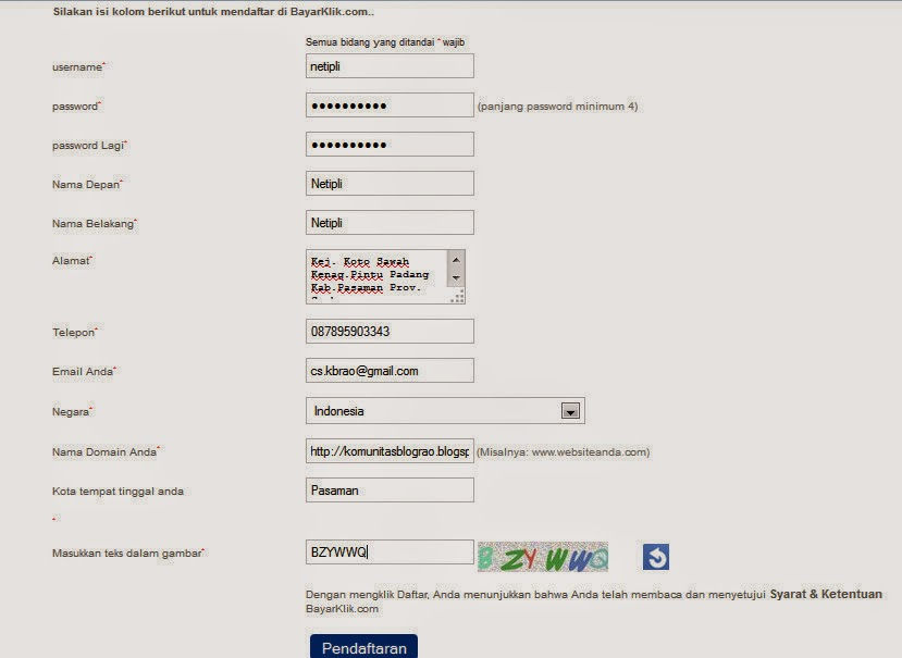 Cara Daftar Iklan PPC bayarklik.com