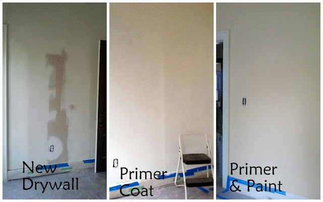 drywall, primer, and paint
