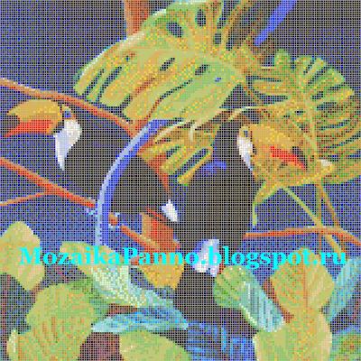 Мозаичное панно «Туканы в зелени»