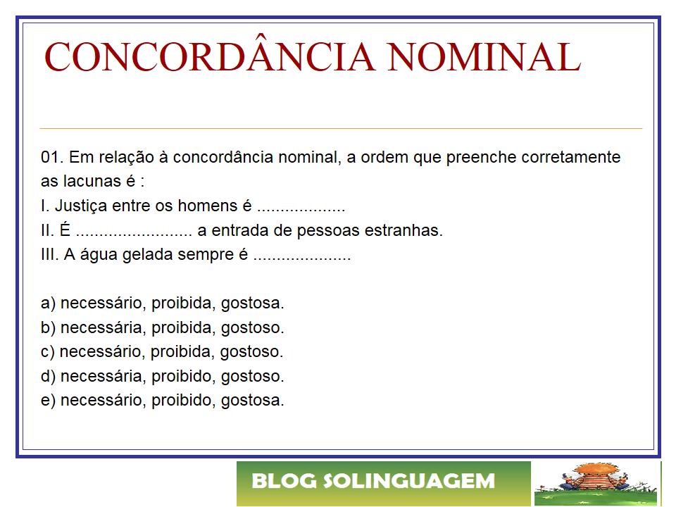 Só Linguagem 2021 Exercícios Concordância Nominal