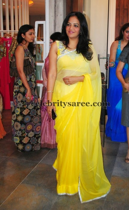 Pretty Lady Yellow Transparent Saree