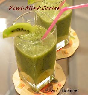 Kiwi Mint Cooler, summer cooler, cool drink, kiwi juice