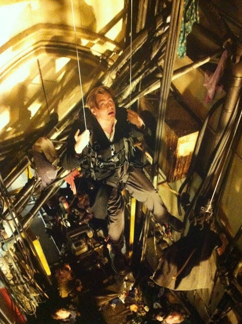 Batman Begins Christopher Nolan tests the Backup Bat flying mechanism Arkham Asylum Stairwell Location St Pancras Chambers Kings Cross