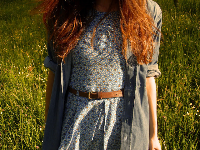 pull & bear birds print dress, denim oversize shirt, primark key ring