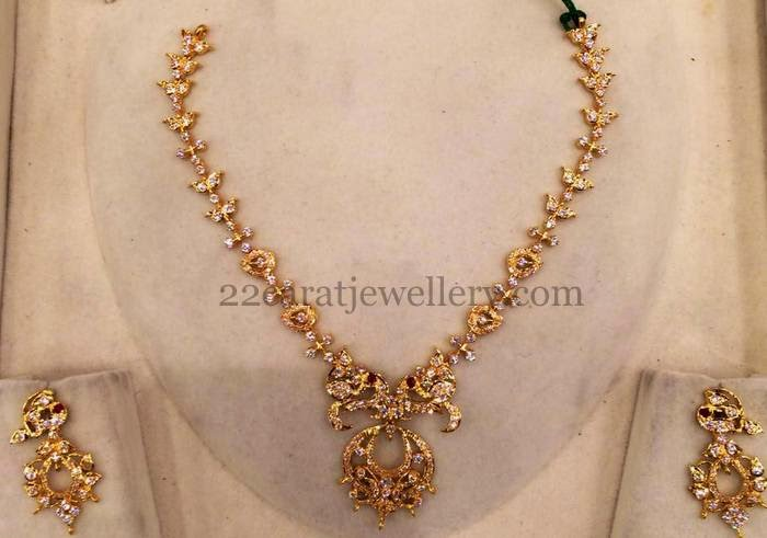 28gms simple gold cz set jewellery designs