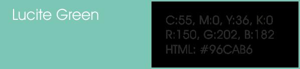 Lucite Green y sus códigos cmyk, rgb, html