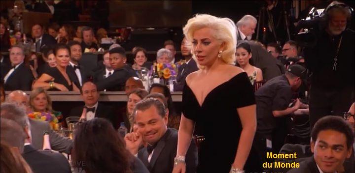 La réaction de Léonard DiCaprio devant le coup de Lady Gaga dans les Golden Globes 2016