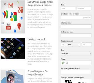 formulário google criar contas tutorial