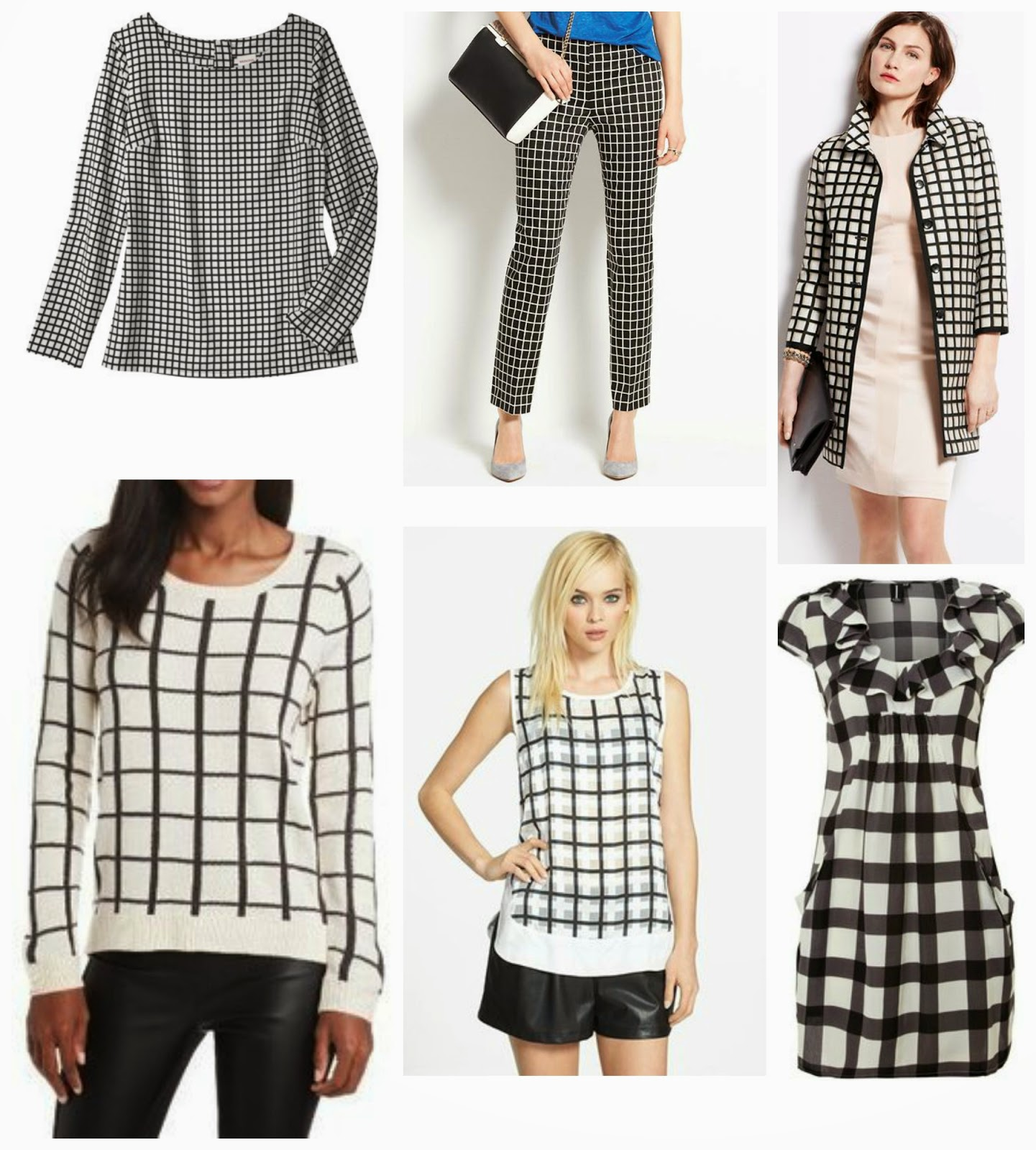 Black and white, merona Target window pane blouse, Loft Jacket, Window pane sweater