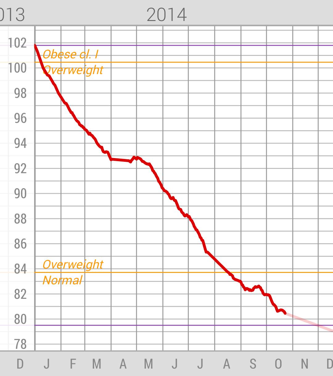 Wykres mojej wagi ciała w 2014.