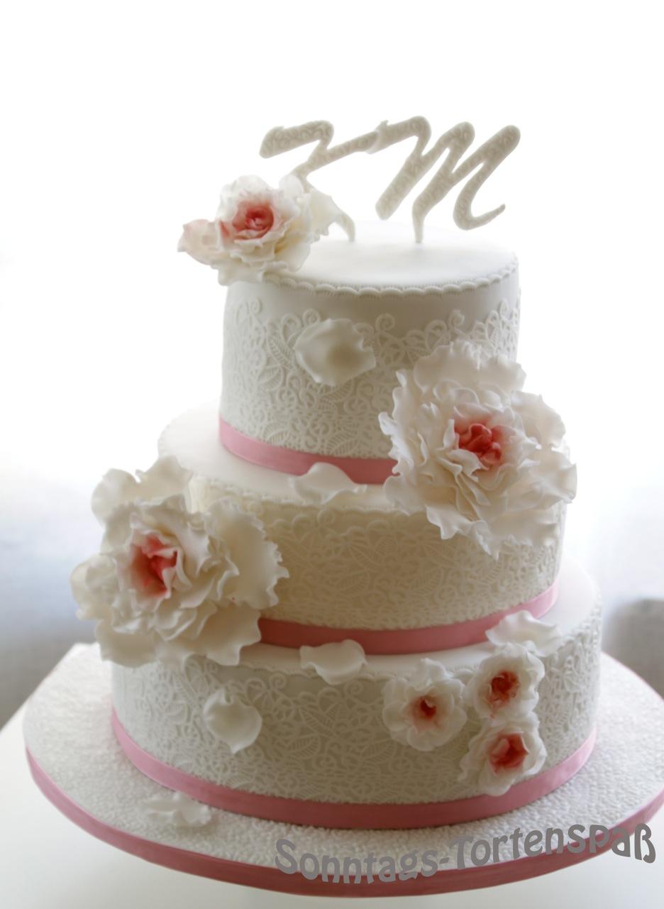Immer Wieder Sonntags Hochzeitstorte Weiss Altrosa