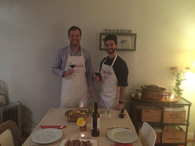 Simon and Joey at the Tenedor Tours cooking class, San Sebastian, Basque Country, Spain