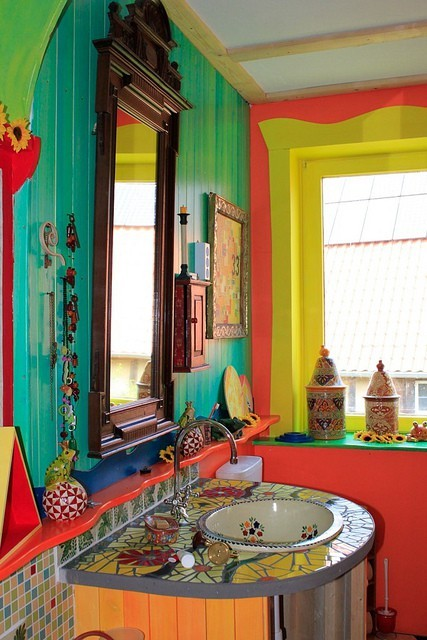 Dishfunctional designs the bohemian bathroom for Colorful interior design ideas