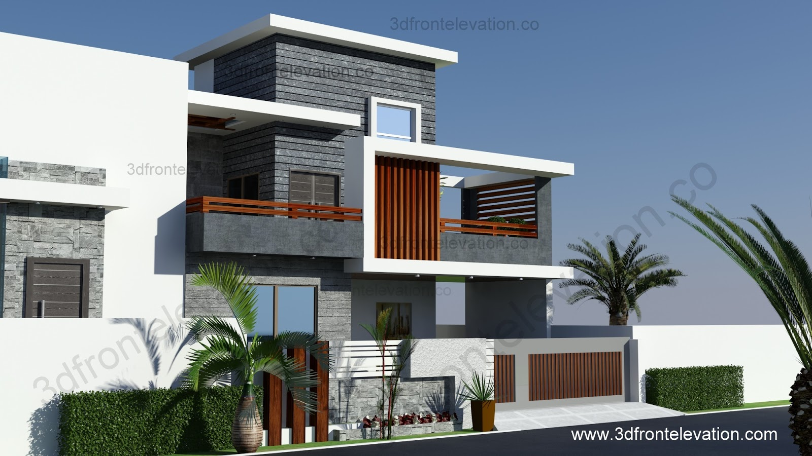 3d front 10 marla contemporary house design for Latest design house plan