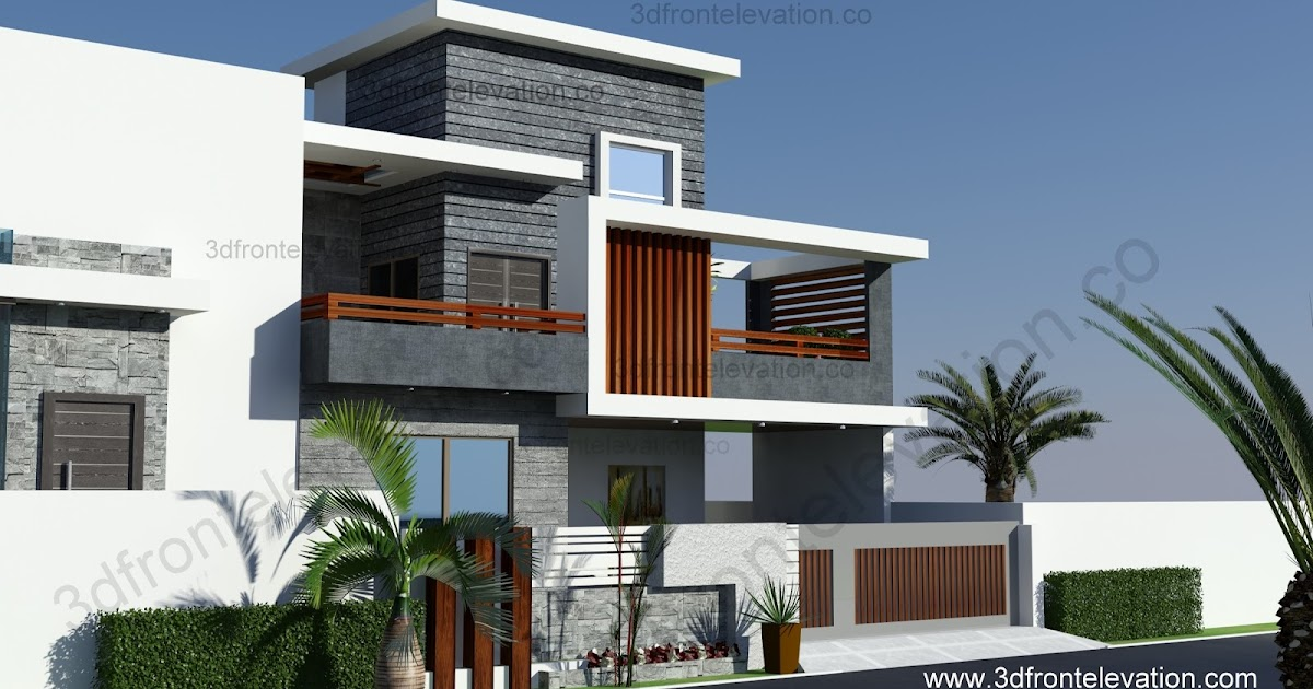 D Front Elevation Of Marla House : D front elevation marla contemporary house design