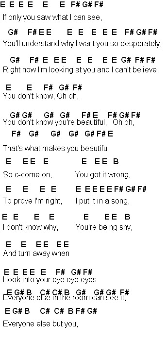 you are beatiful song:
