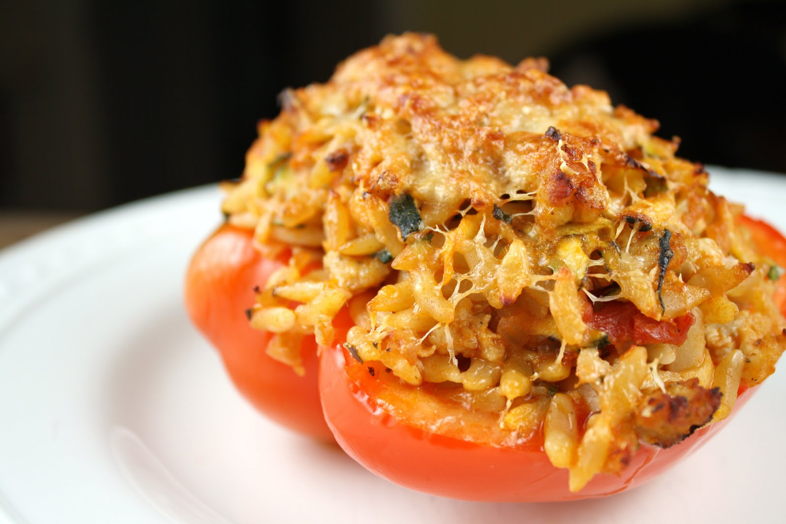 Living on Pure Land: Zucchini, sausage, and orzo stuffed peppers