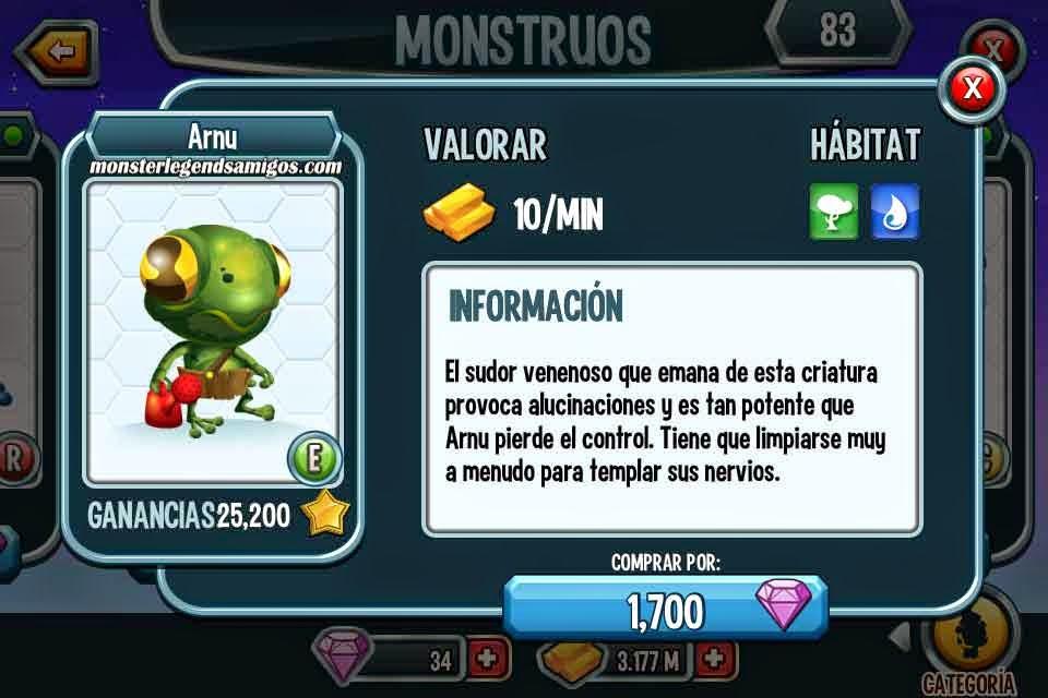 imagen del monstruo arnu por 100 gemas en monster legends ios