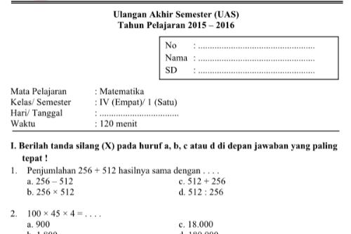 Soal Pelajaran Kelas 4 Sd Newhairstylesformen2014 Com