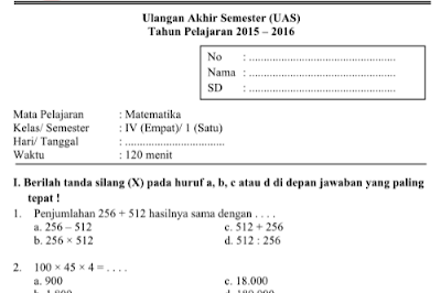 Download soal-soal UAS kelas 4 SD/MI semester 1 semua mata pelajaran.
