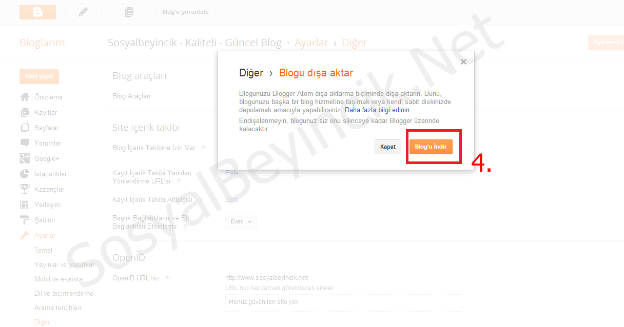 Blogger Site Verilerini Yedekleme2